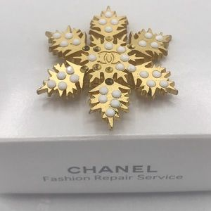 Chanel Snowflake Brooch Pin Coco Motif CC Logo